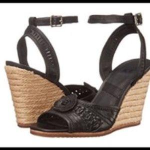 Frye Patrica Concho Black Espadrille Sandal Sz 11